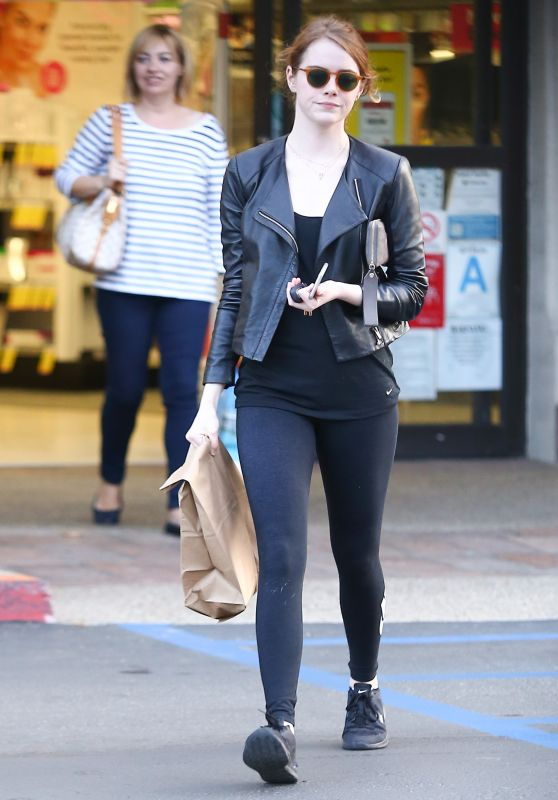 Emma Stone In Tights Out In Malibu January 2016