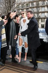 Gigi Hadid Street Fashion - at Her Hotel in Paris 1/26/2016