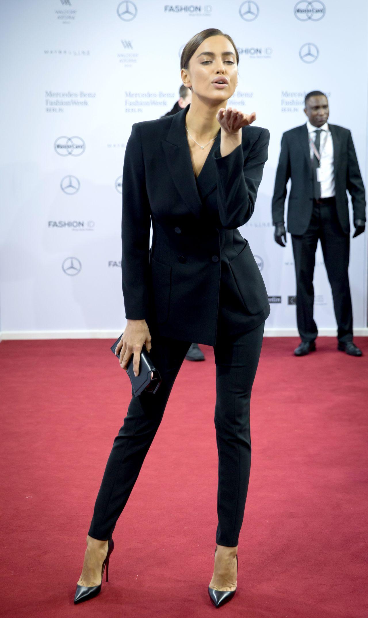 Irina shayk marc cain fashion show 2016 2017 f w for Mercedes benz fashion week