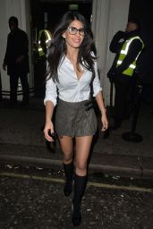 Jasmin Walia in Mini Skirt - Leaving a Club in London, January 2016