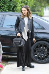 Jessica Alba in Leather Jacket and Maxi Dress - Beverly Hills, January 2016