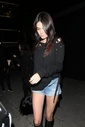 Kendall Jenner in Jeans Shorts - Nice Guy Club in West Hollywood 1/13/2016