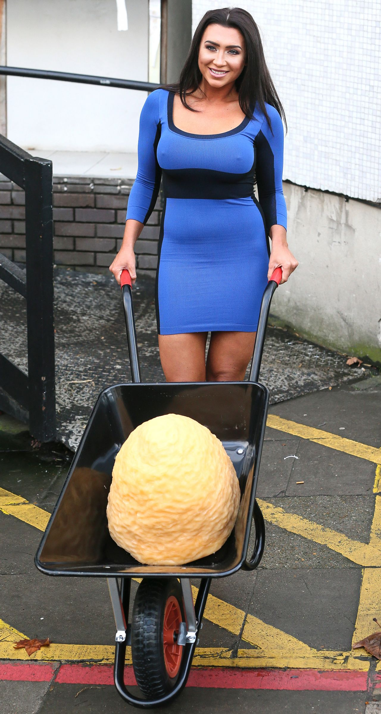 Lauren Goodger In A Blue One Piece Dress 1 4 2016
