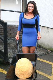 Lauren Goodger in a Blue One-Piece Dress 1/4/2016