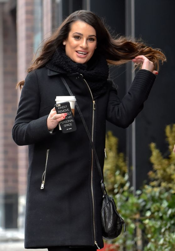 Lea Michele Casual Style - Out in NYC, 1/25/2016