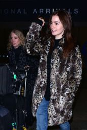 Lily Collins Airport Style - at LAX in Los Angeles 1/6/2016