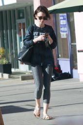 Lily Collins in Leggings - Leaving a Gym in Los Angeles 1/25/2016