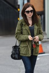 Lily Collins - Leaving Her Mom