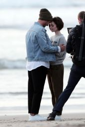 Lily Collins on the Set of a Lancôme Ad in Los Angeles, January 2016