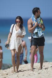 Lucy Watson Bikini Candids - Beach in Barbados 12/31/2015