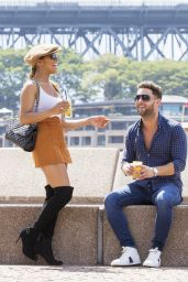 Melody Thornton - Enjoying a Flirty Drink at Opera Bay Overlooking Sydney Harbour, January 2016