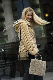Michelle Hunziker Street Fashion - Out in Milan, Italy 1/14/2016