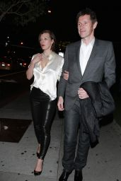 Milla Jovovich Night Out Style - at BOA Steakhouse in West Hollywood 1/9/2016