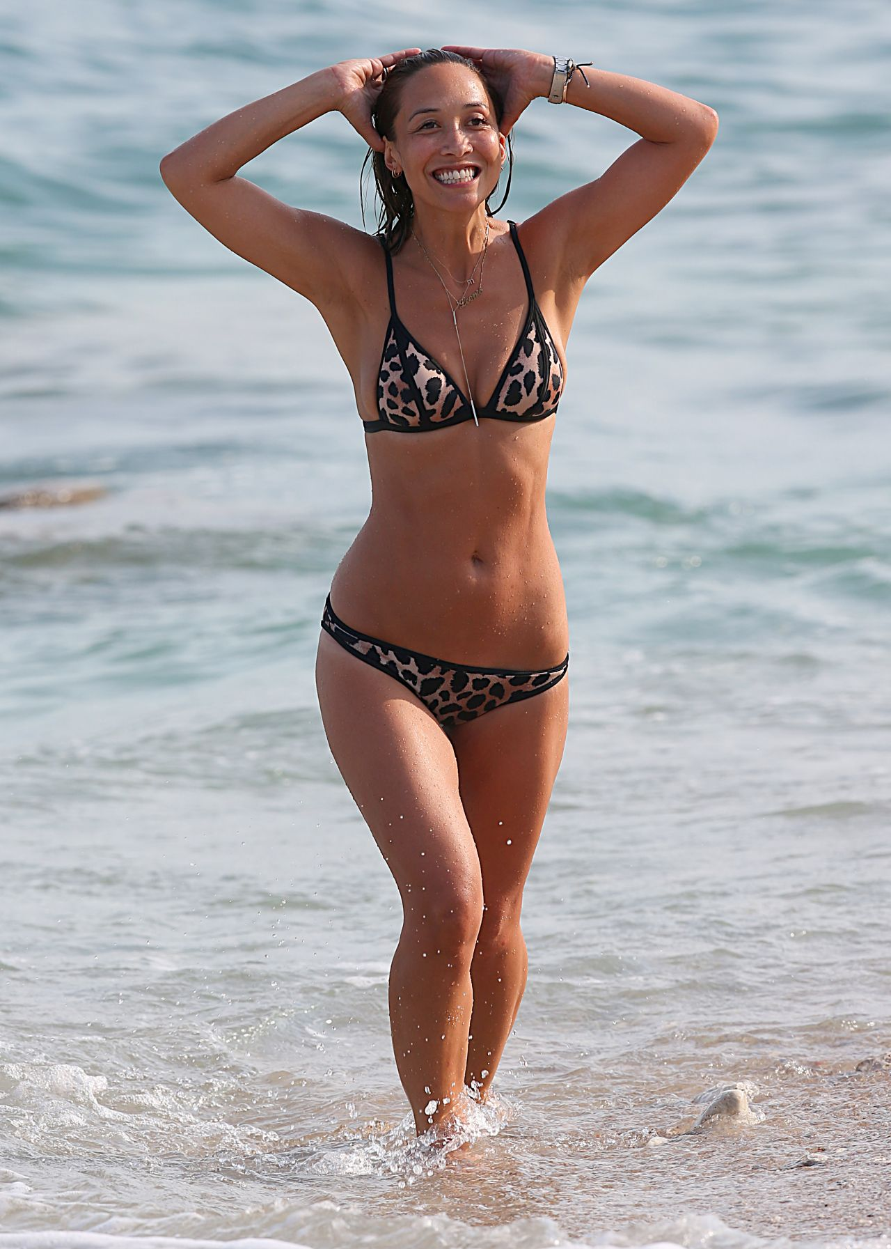 Myleene klass in bikini on the beach in portugal
