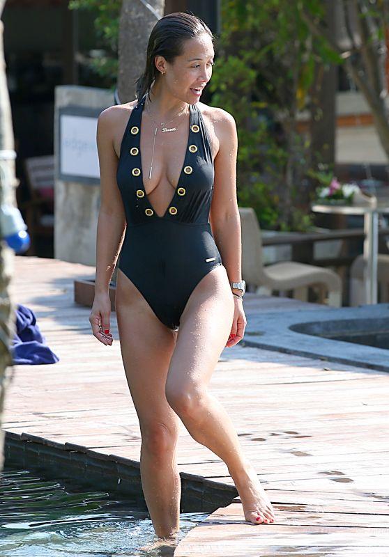 Myleene Klass in Black Swimsuit - Poolside Photos - Thailand, January 2016