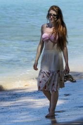 Nicola Roberts in Bikini Top on the beach in Barbados 1/29/2016
