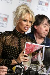 Pamela Anderson - Gives a Press  Conference With French Deputy Laurence Abeille in Paris, January 2016
