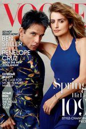 Penelope Cruz & Ben Stiller - VOGUE Magazine Cover and Photos, February 2016