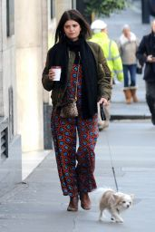 Pixie Geldof - Walking Her Dog, Buster Sniff, in Central London 1/19/2016