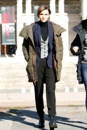 Ruby Rose filming John Wick 2 in Rome, January 2016