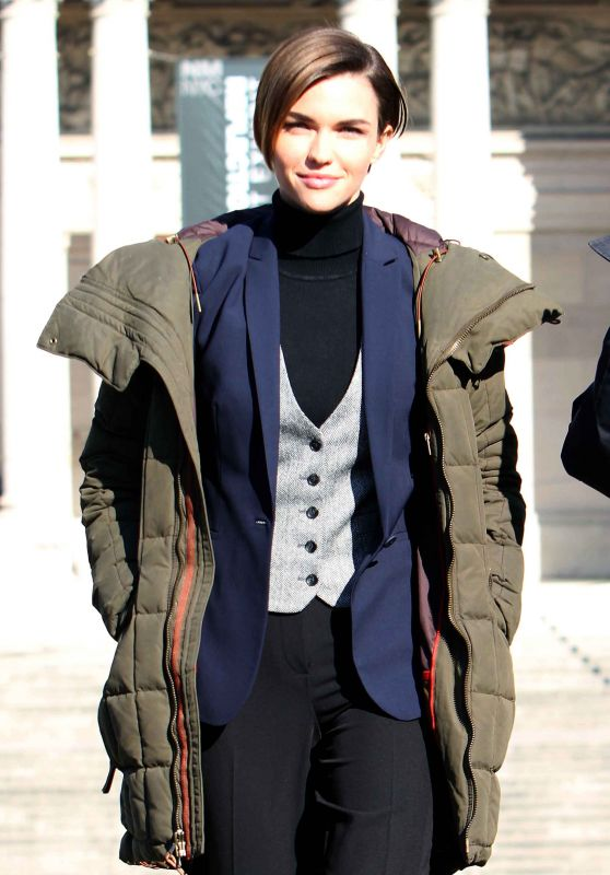 Ruby Rose filming John Wick 2 in Rome, January 2016