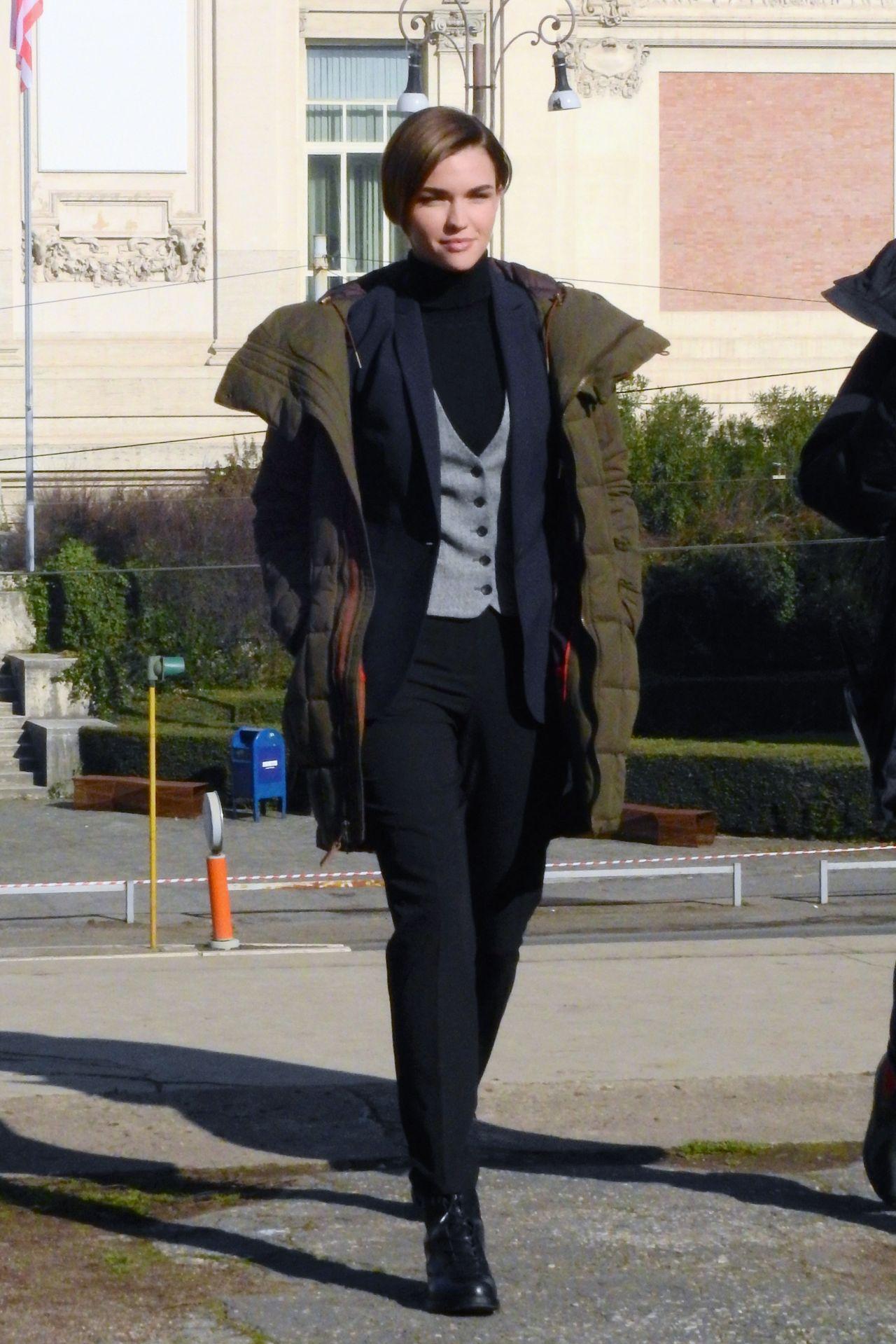 Ruby Rose Filming John Wick 2 In Rome January 2016