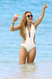 Tallia Storm Wears White Swimsuit in Barbados 1/1/2016