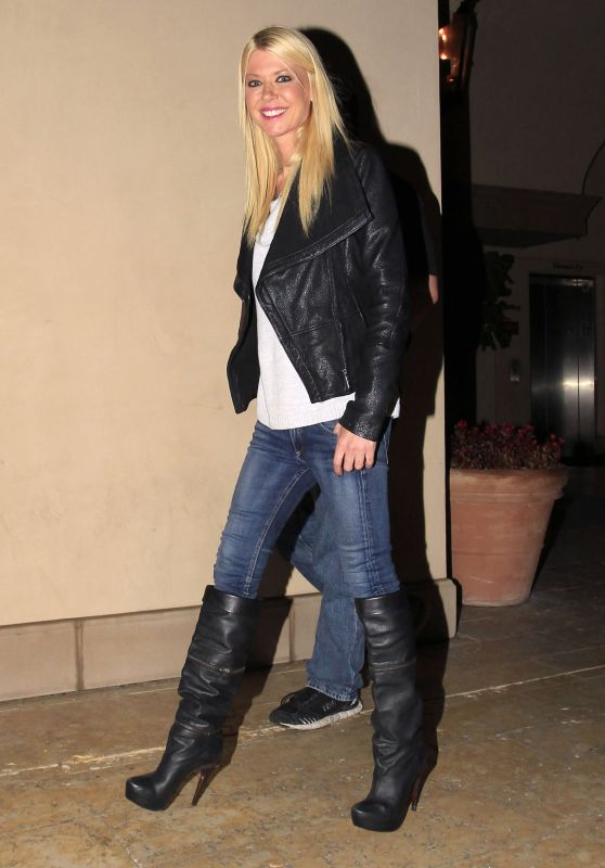 Tara Reid in Jeans and Knee High Boots at Bouchon in Beverly Hills, January 2016