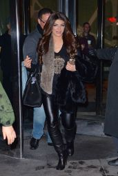 Teresa Giudice in Black Leather Leggings - New York City, January 2016