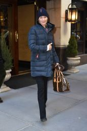 Uma Thurman Winter Style - at the Monkey Bar in NYC, January 2016
