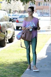 Alessandra Ambrosio is Leggy in TIghts - Out in Brentwood 2/9/2016