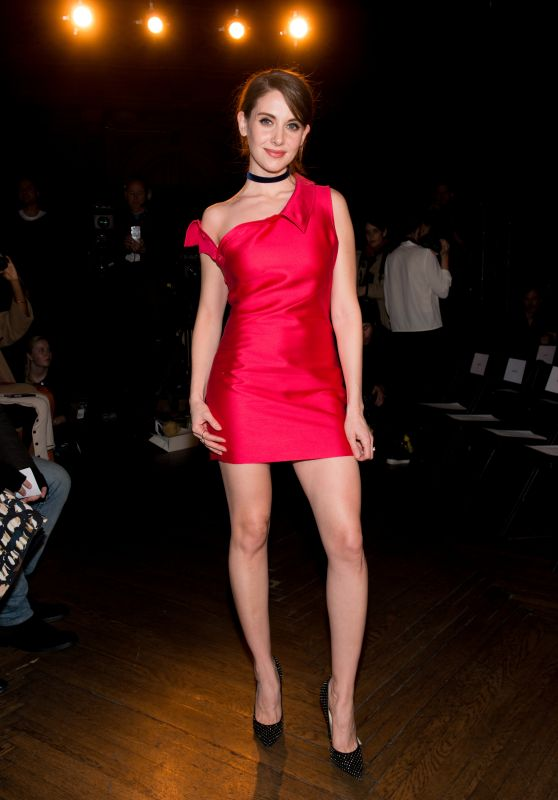 Alison Brie Hot in Little Red Dress - Monse Fall 2016 Fashion Show - NYFW, 2/12/2016