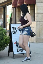 Ariel Winter In Jeans Shorts - at Rudys Barbershop in Los Angeles 2/7/2016