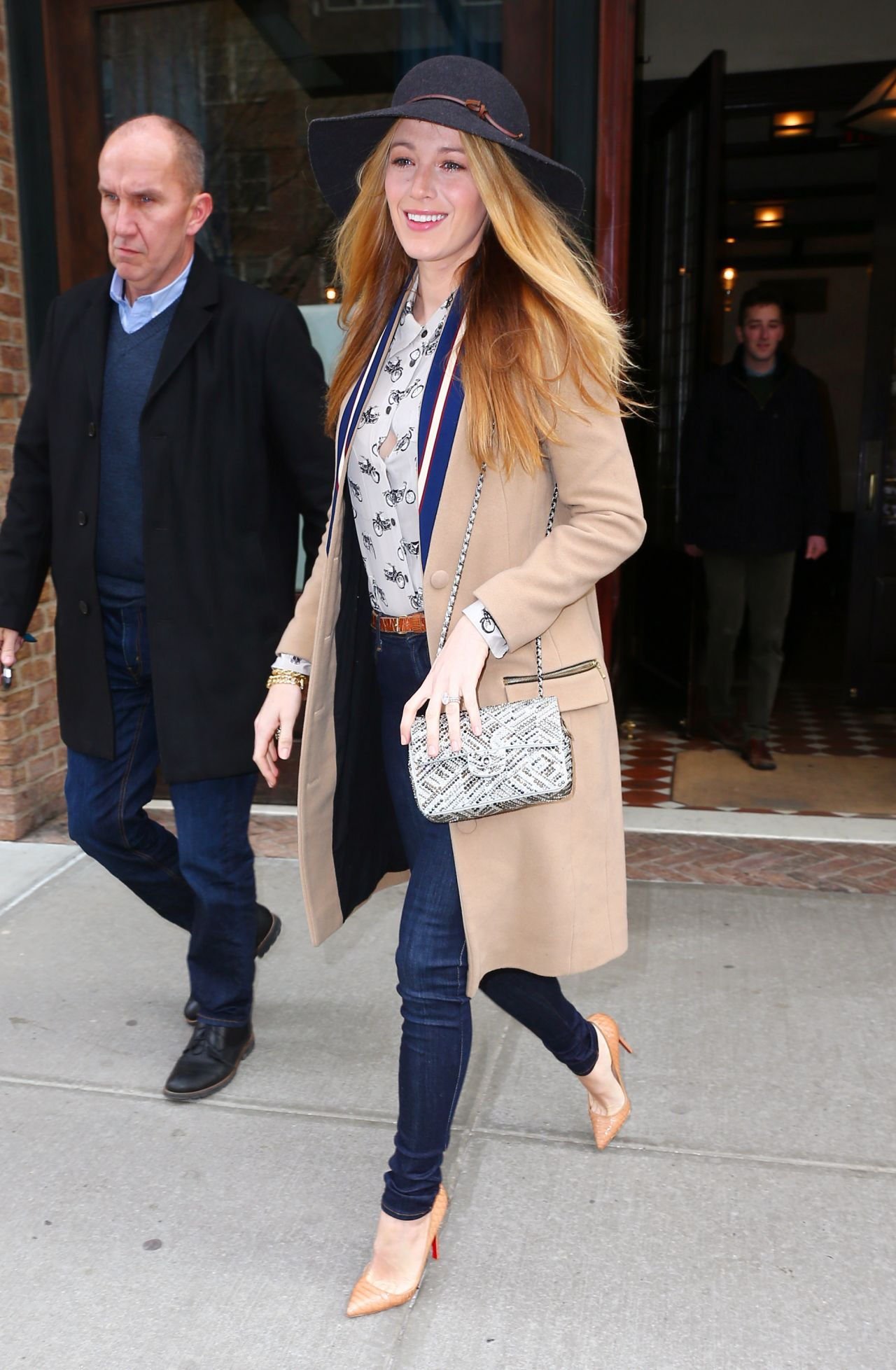 blake lively casual style leaving her hotel in new york