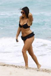 Claudia Romani in Black Bikini at the Beach in Miami 2/28/2016