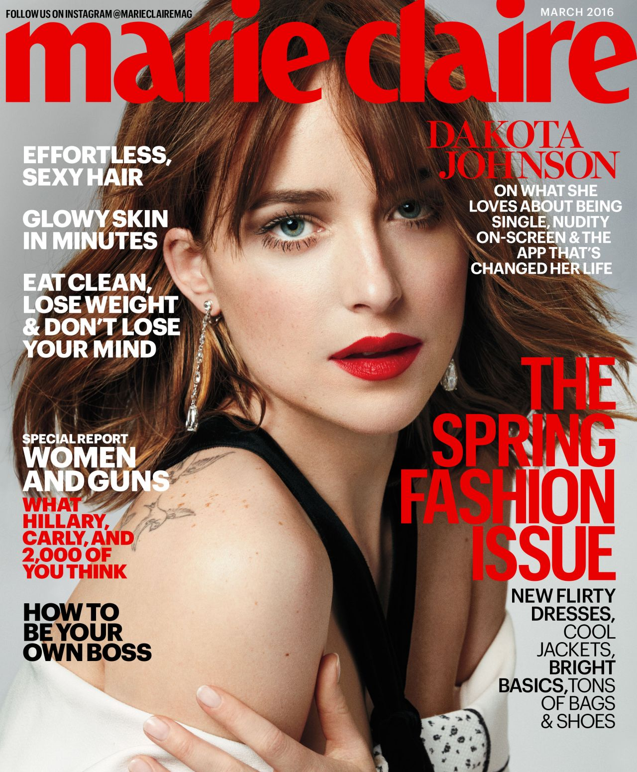 dakota johnson marie claire magazine march 2016 cover and pics. Black Bedroom Furniture Sets. Home Design Ideas