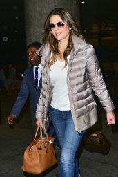 Elizabeth Hurley Airport Style - at LAX in Los Angeles, February 2016