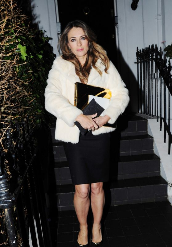 Elizabeth Hurley Night Out Style - Leaving Her House in London 2/5/2016