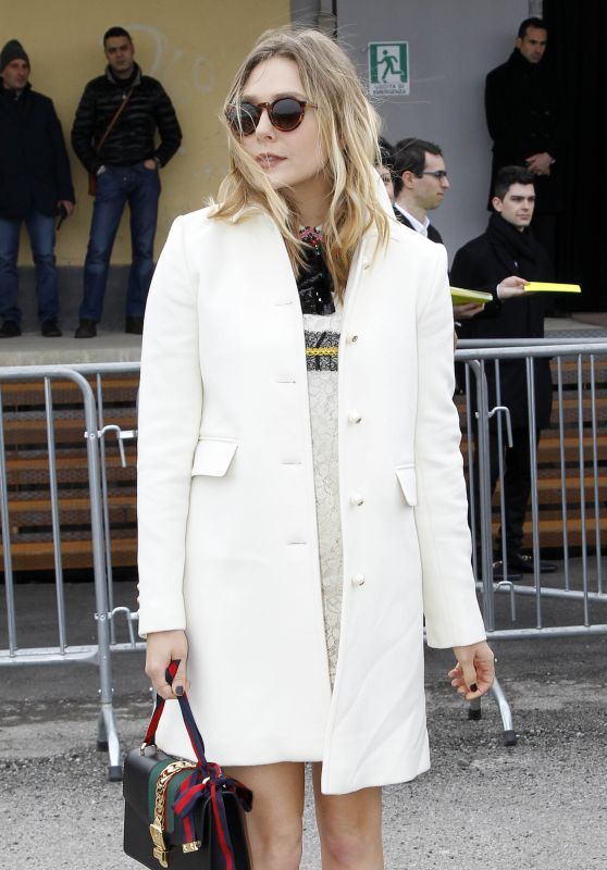 Elizabeth Olsen - Arrives at the Gucci Show for Milan Fashion Week 2/24/2016