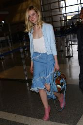 Elle Fanning at LAX Airport in Los Angeles 2/13/2016
