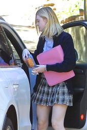 Elle Fanning Leggy in Mini Skirt - Out in Los Angeles 2/9/2016