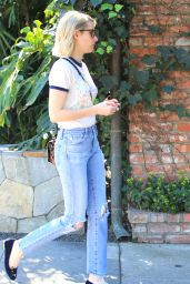 Emma Roberts in Ripped Jeans - Out in Beverly Hills 2/9/2016