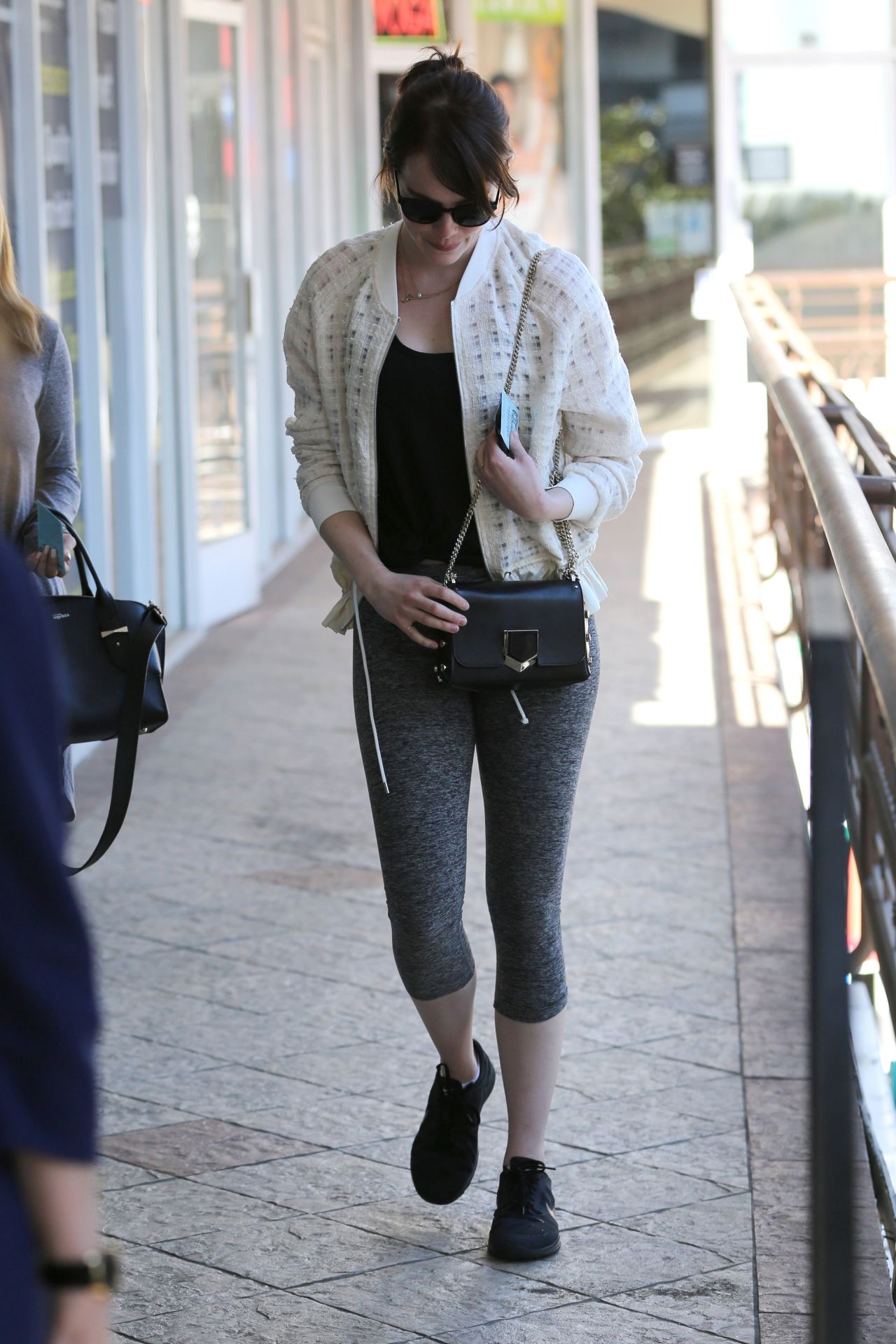 Emma Stone In Leggings At Sushi Park In West Hollywood
