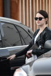 Emma Stone - Leaving Meche Salon With a Dark New Hair For Her New Movie 2/5/2016