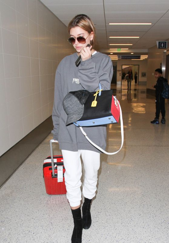 Hailey Baldwin Airport Style - LAX in Los Angeles, February 2016