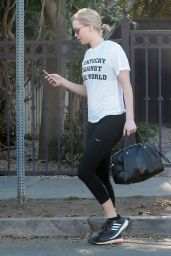 Jennifer Lawrence in Leggings - Leaving a Friends House in Los Angeles, February 2016