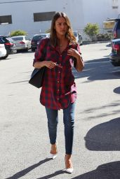 Jessica Alba Embracing the Plaid Shirt - Out in Santa Monica, Febraury 2016