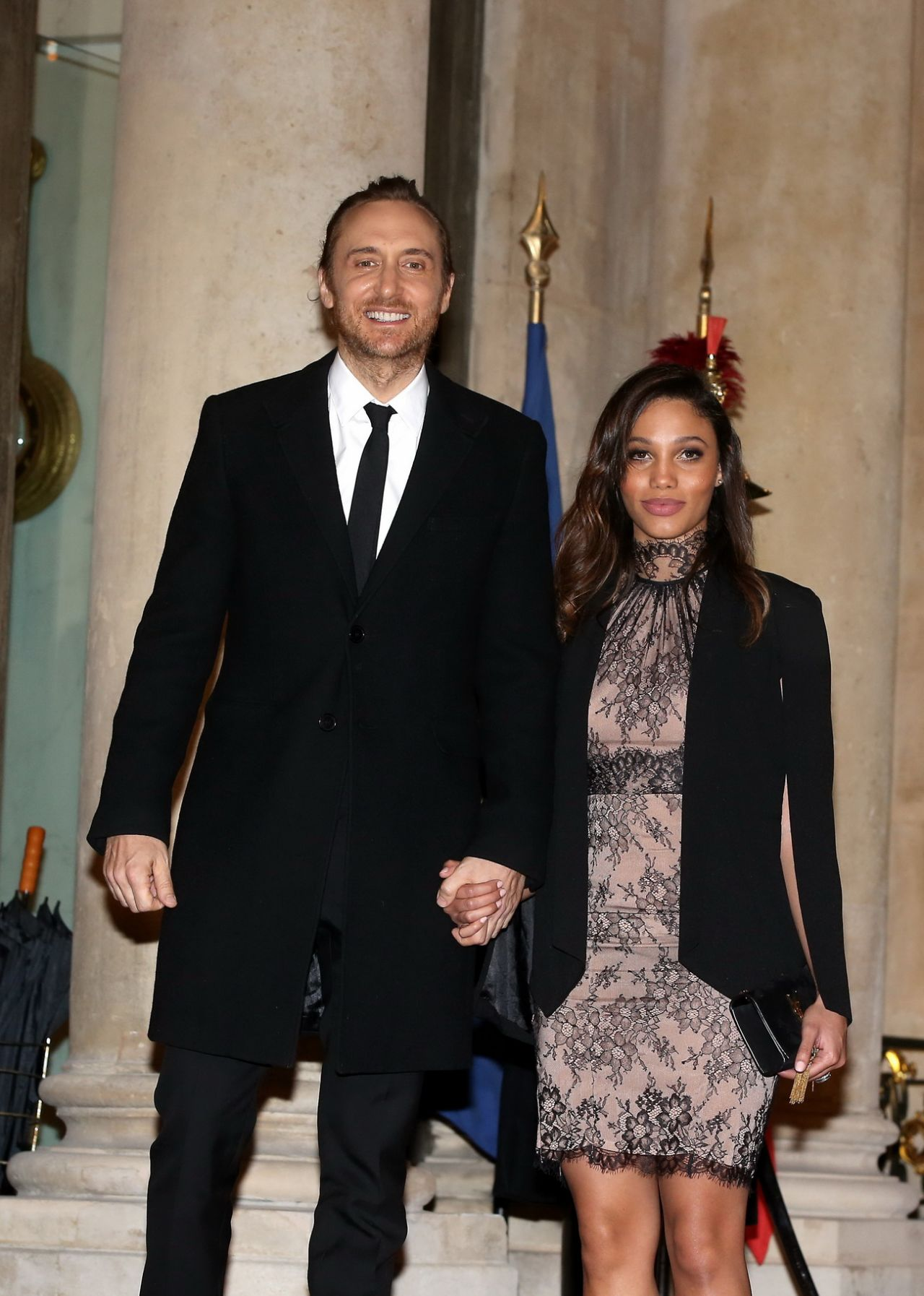 jessica ledon and david guetta arriving at the elysee. Black Bedroom Furniture Sets. Home Design Ideas