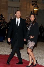 Jessica Ledon and David Guetta - Arriving at the Elysee Palace in Paris, February 1, 2016