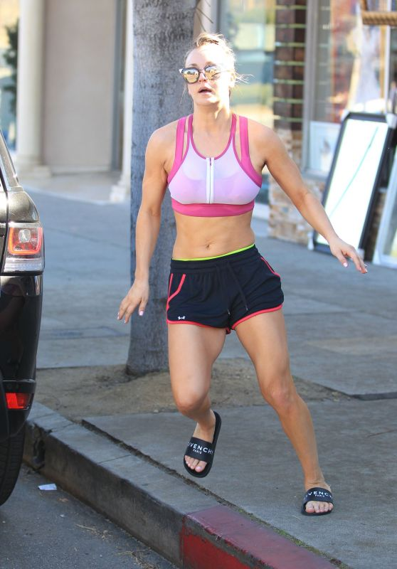 Kaley Cuoco in a Sports Bra and Shorts in Los Angeles 2/9/2016